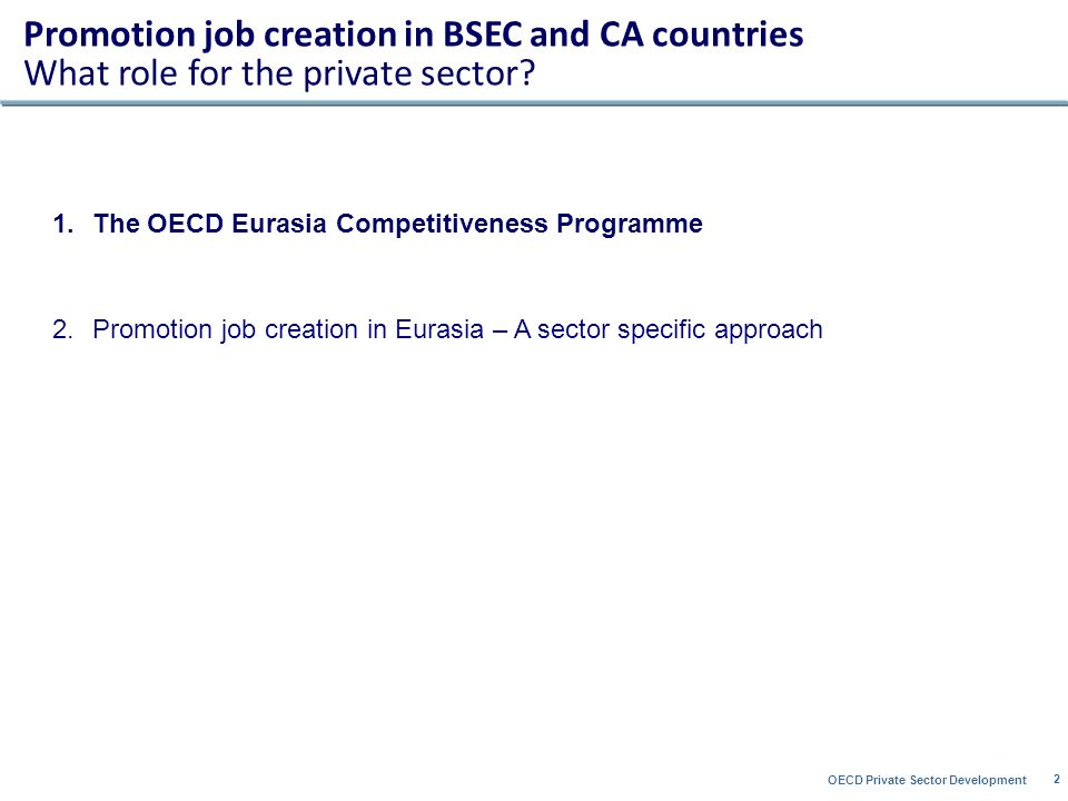 OECD Private Sector Development 2 1.The OECD Eurasia Competitiveness Programme 2.Promotion job creation in Eurasia – A sector specific approach Promotion job creation in BSEC and CA countries What role for the private sector