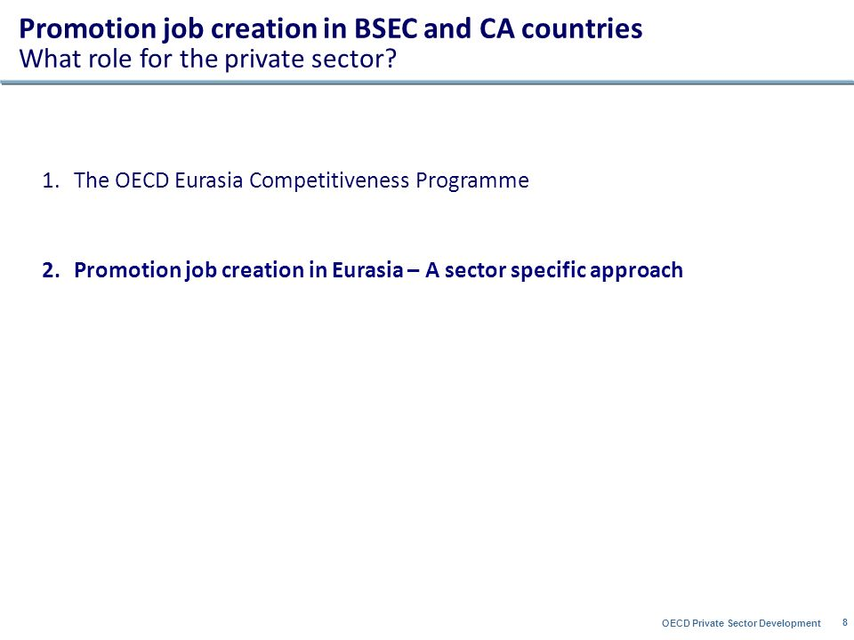 OECD Private Sector Development 8 1.The OECD Eurasia Competitiveness Programme 2.Promotion job creation in Eurasia – A sector specific approach Promotion job creation in BSEC and CA countries What role for the private sector
