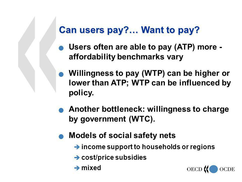 Users often are able to pay (ATP) more - affordability benchmarks vary Willingness to pay (WTP) can be higher or lower than ATP; WTP can be influenced by policy.