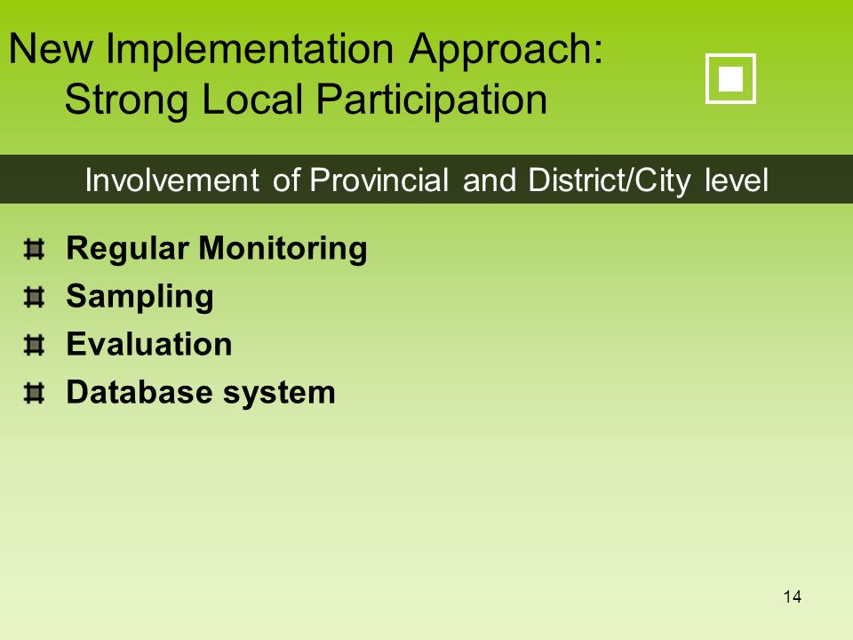 14 New Implementation Approach: Strong Local Participation Regular Monitoring Sampling Evaluation Database system Involvement of Provincial and Distri