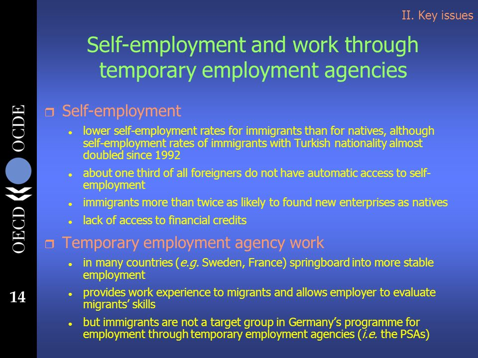 14 II. Key issues Self-employment and work through temporary employment agencies r Self-employment l lower self-employment rates for immigrants than f