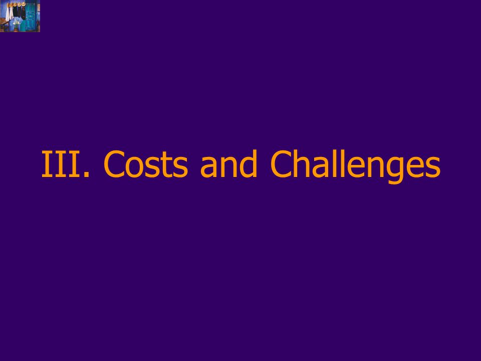 III. Costs and Challenges