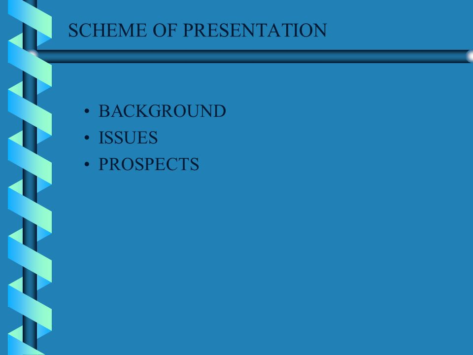 SCHEME OF PRESENTATION BACKGROUND ISSUES PROSPECTS