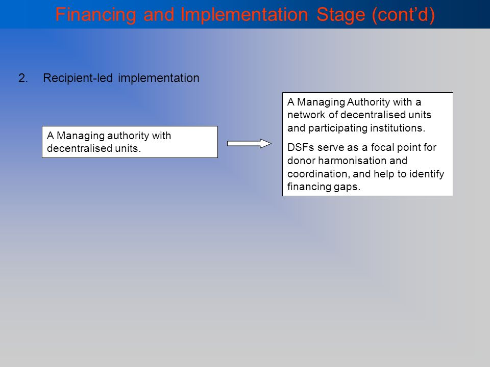 Financing and Implementation Stage (contd) 2.Recipient-led implementation A Managing authority with decentralised units.
