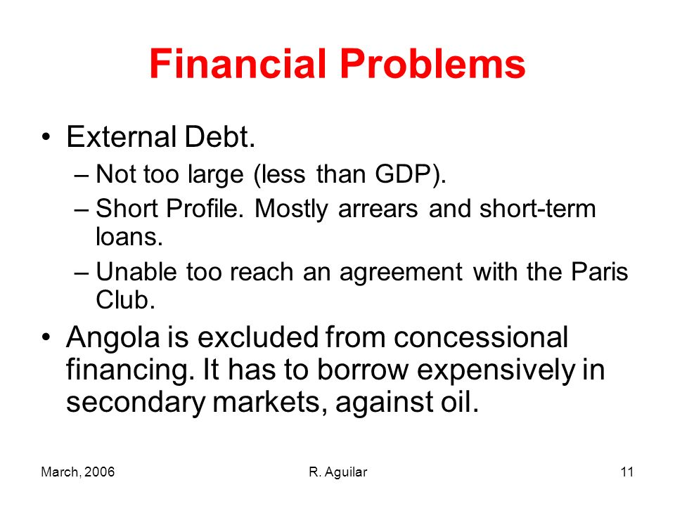 March, 2006R. Aguilar11 Financial Problems External Debt. –Not too large (less than GDP). –Short Profile. Mostly arrears and short-term loans. –Unable