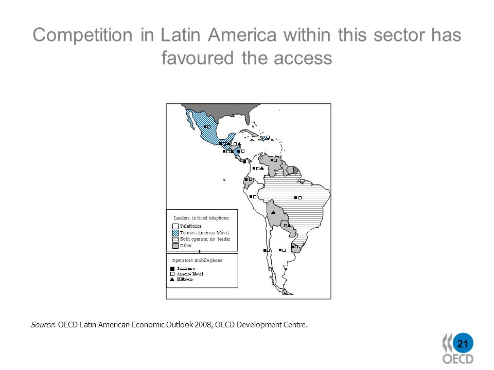 21 Competition in Latin America within this sector has favoured the access Telefónica Both operate, no leader Telmex/América Móvil Other s Source: OEC