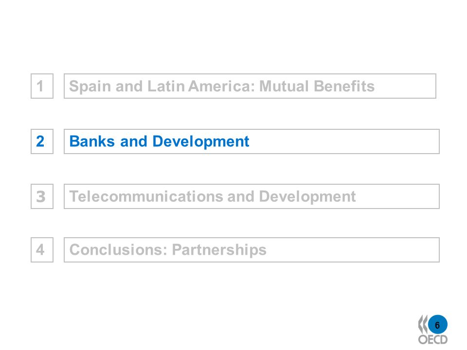 6 Spain and Latin America: Mutual Benefits1Banks and Development2Telecommunications and Development 3 Conclusions: Partnerships4