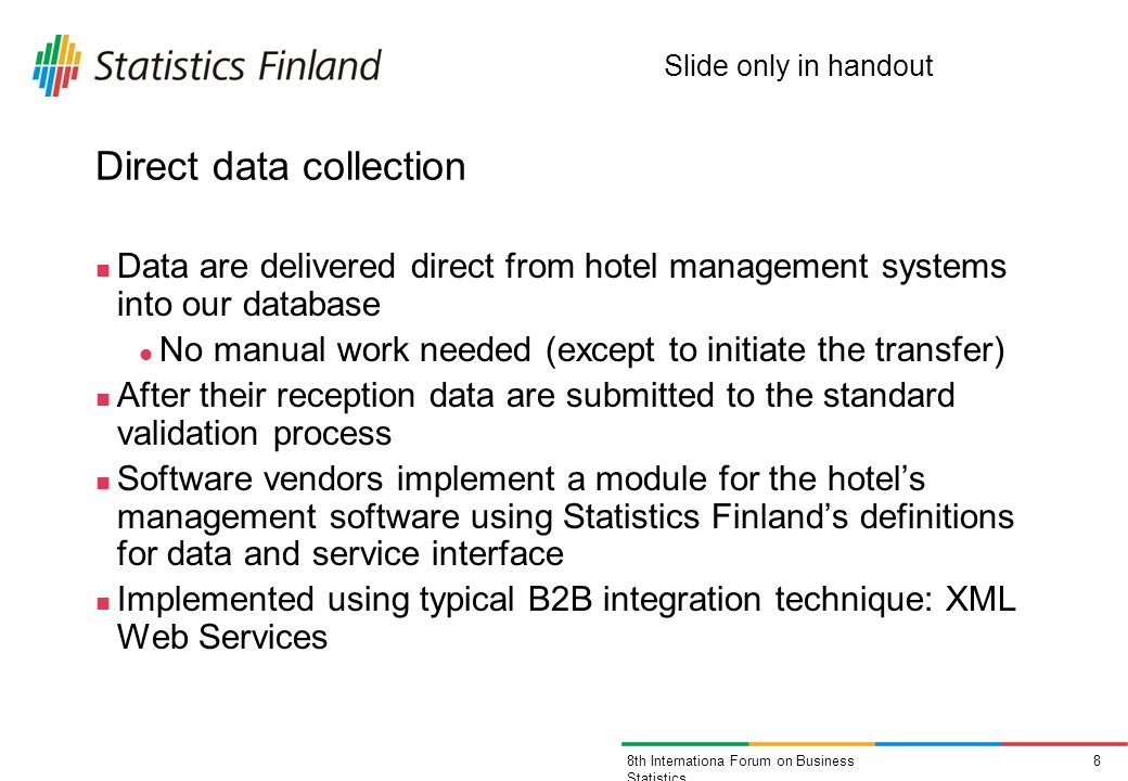 88th Internationa Forum on Business Statistics Direct data collection Data are delivered direct from hotel management systems into our database No man