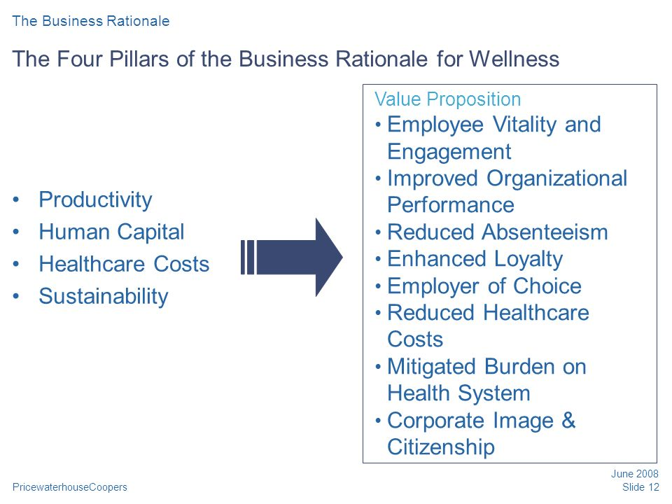 PricewaterhouseCoopers June 2008 Slide 12 The Four Pillars of the Business Rationale for Wellness Productivity Human Capital Healthcare Costs Sustainability Value Proposition Employee Vitality and Engagement Improved Organizational Performance Reduced Absenteeism Enhanced Loyalty Employer of Choice Reduced Healthcare Costs Mitigated Burden on Health System Corporate Image & Citizenship The Business Rationale
