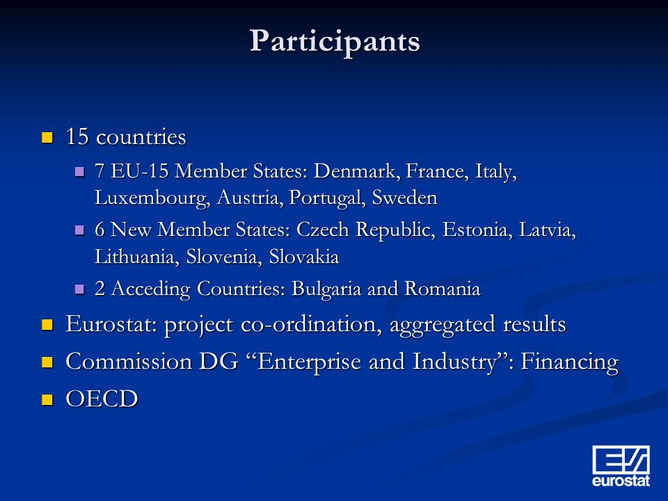 Participants 15 countries 15 countries 7 EU-15 Member States: Denmark, France, Italy, Luxembourg, Austria, Portugal, Sweden 7 EU-15 Member States: Denmark, France, Italy, Luxembourg, Austria, Portugal, Sweden 6 New Member States: Czech Republic, Estonia, Latvia, Lithuania, Slovenia, Slovakia 6 New Member States: Czech Republic, Estonia, Latvia, Lithuania, Slovenia, Slovakia 2 Acceding Countries: Bulgaria and Romania 2 Acceding Countries: Bulgaria and Romania Eurostat: project co-ordination, aggregated results Eurostat: project co-ordination, aggregated results Commission DG Enterprise and Industry: Financing Commission DG Enterprise and Industry: Financing OECD OECD