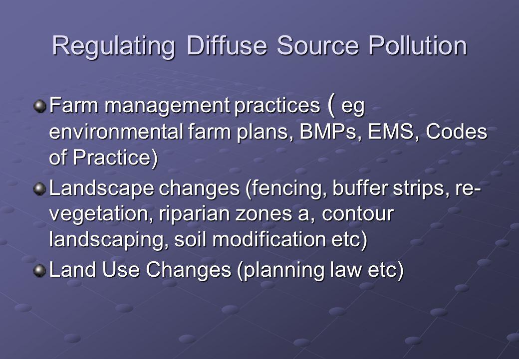 Regulating Diffuse Source Pollution Farm management practices ( eg environmental farm plans, BMPs, EMS, Codes of Practice) Landscape changes (fencing,