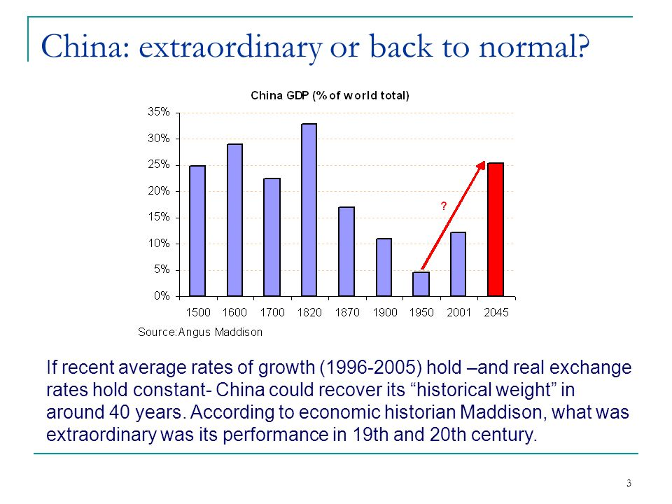 3 China: extraordinary or back to normal.