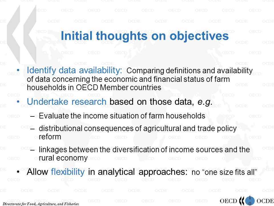 Directorate for Food, Agriculture, and Fisheries 1010 Initial thoughts on objectives Identify data availability: Comparing definitions and availability of data concerning the economic and financial status of farm households in OECD Member countries Undertake research based on those data, e.g.