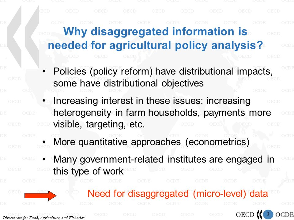 Directorate for Food, Agriculture, and Fisheries 3 Why disaggregated information is needed for agricultural policy analysis? Policies (policy reform)