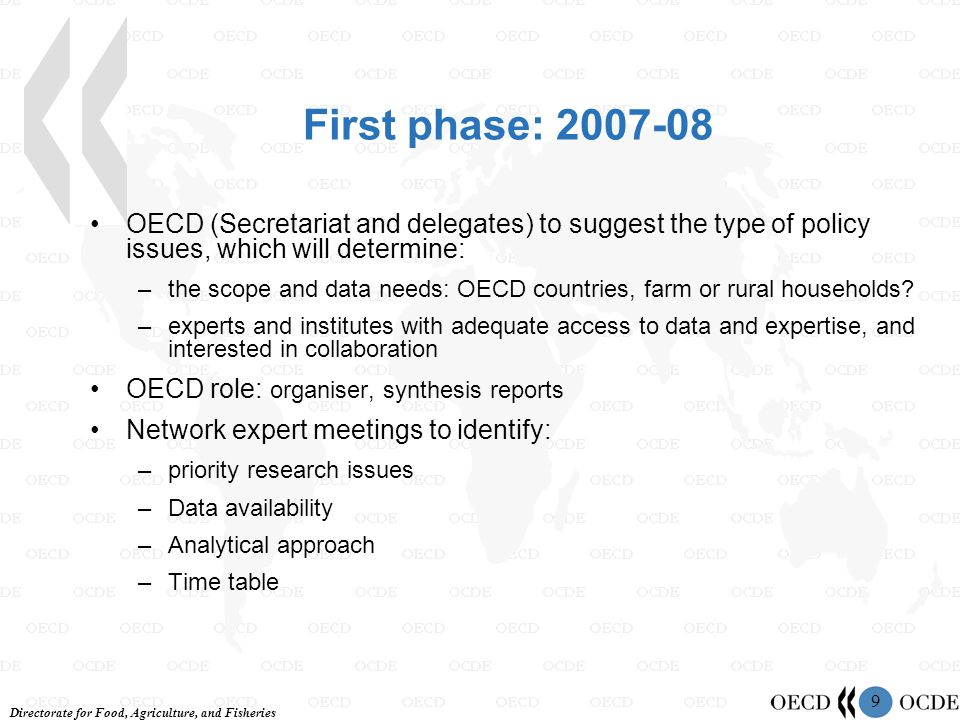 Directorate for Food, Agriculture, and Fisheries 9 First phase: 2007-08 OECD (Secretariat and delegates) to suggest the type of policy issues, which will determine: –the scope and data needs: OECD countries, farm or rural households.