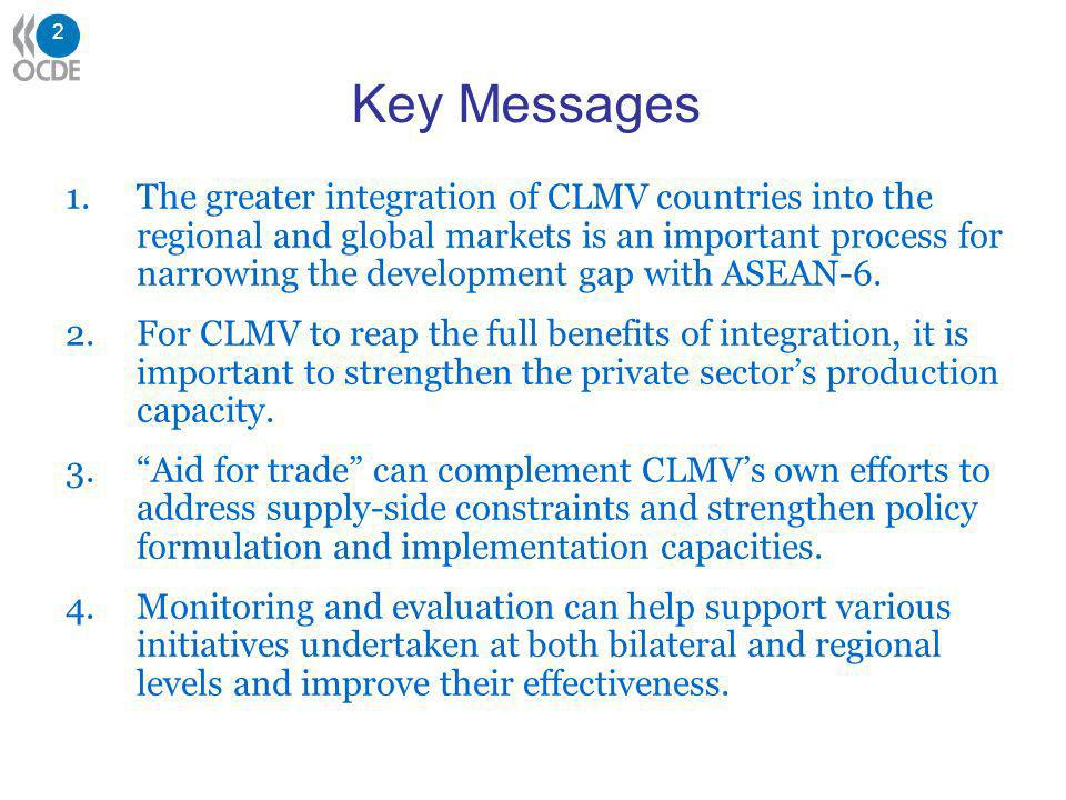 2 Key Messages 1.The greater integration of CLMV countries into the regional and global markets is an important process for narrowing the development gap with ASEAN-6.