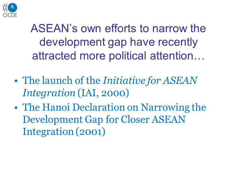 6 ASEANs own efforts to narrow the development gap have recently attracted more political attention… The launch of the Initiative for ASEAN Integration (IAI, 2000) The Hanoi Declaration on Narrowing the Development Gap for Closer ASEAN Integration (2001)