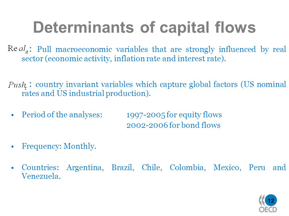 12 Determinants of capital flows : Pull macroeconomic variables that are strongly influenced by real sector (economic activity, inflation rate and int