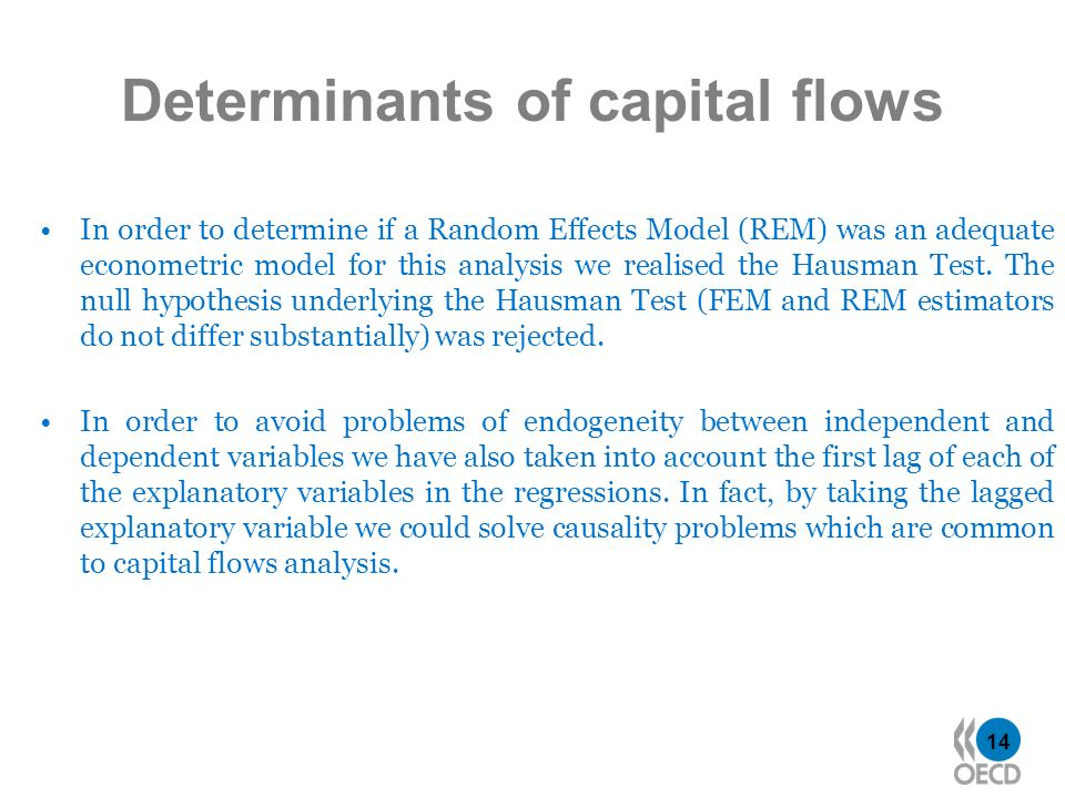 14 Determinants of capital flows In order to determine if a Random Effects Model (REM) was an adequate econometric model for this analysis we realised