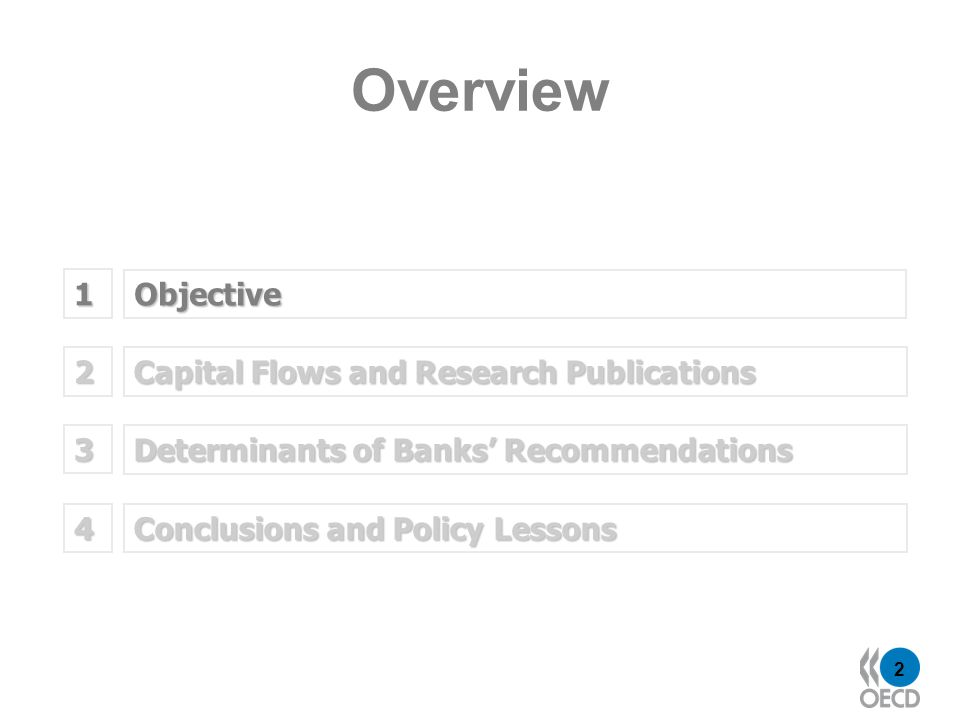 2 Objective 1 Capital Flows and Research Publications 2 Determinants of Banks Recommendations 3 Overview Conclusions and Policy Lessons 4