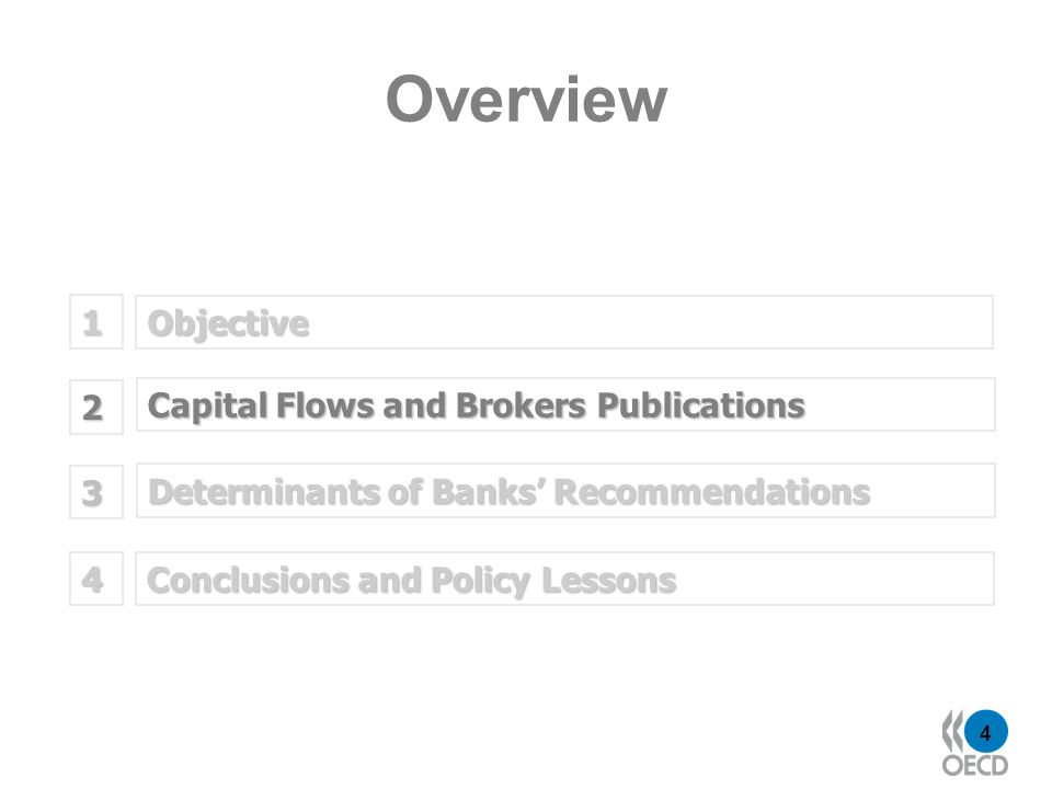 4 Objective 1 Determinants of Banks Recommendations 2 Capital Flows and Brokers Publications 3 Overview Conclusions and Policy Lessons 4