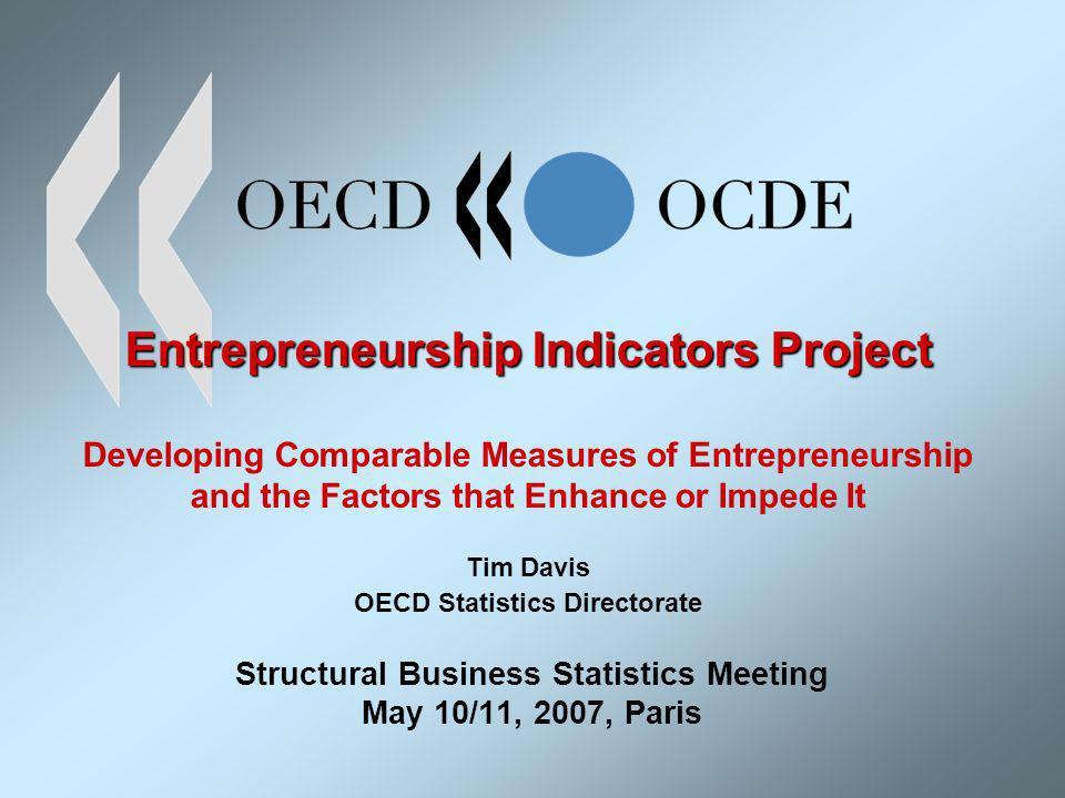 Entrepreneurship Indicators Project Entrepreneurship Indicators Project Developing Comparable Measures of Entrepreneurship and the Factors that Enhanc