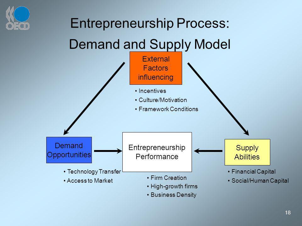 18 Entrepreneurship Process: Demand and Supply Model External Factors influencing Demand Opportunities Entrepreneurship Performance Supply Abilities I