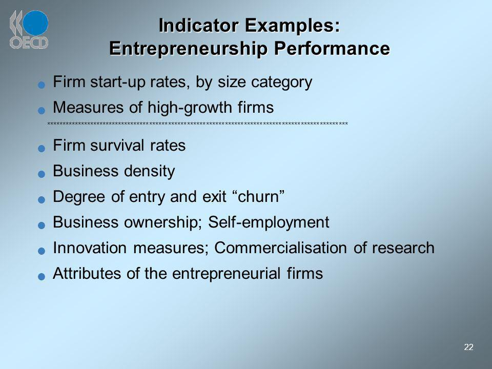 22 Indicator Examples: Entrepreneurship Performance Firm start-up rates, by size category Measures of high-growth firms ******************************
