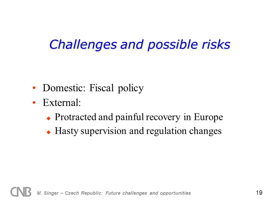 M. Singer – Czech Republic: Future challenges and opportunities 19 Challenges and possible risks Domestic: Fiscal policy External: Protracted and pain