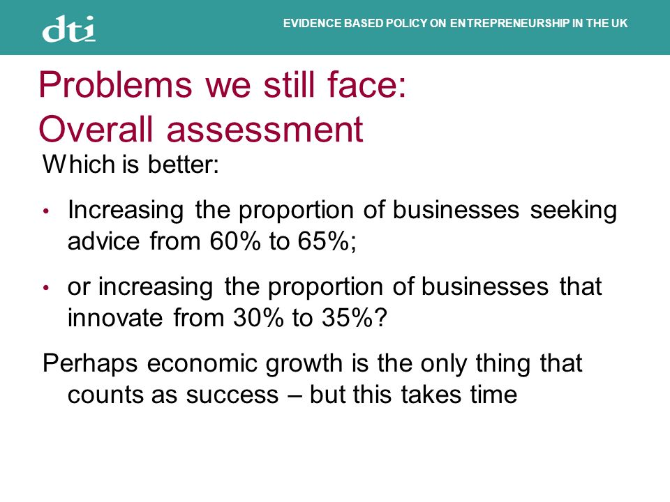 EVIDENCE BASED POLICY ON ENTREPRENEURSHIP IN THE UK Problems we still face: Overall assessment Which is better: Increasing the proportion of businesses seeking advice from 60% to 65%; or increasing the proportion of businesses that innovate from 30% to 35%.