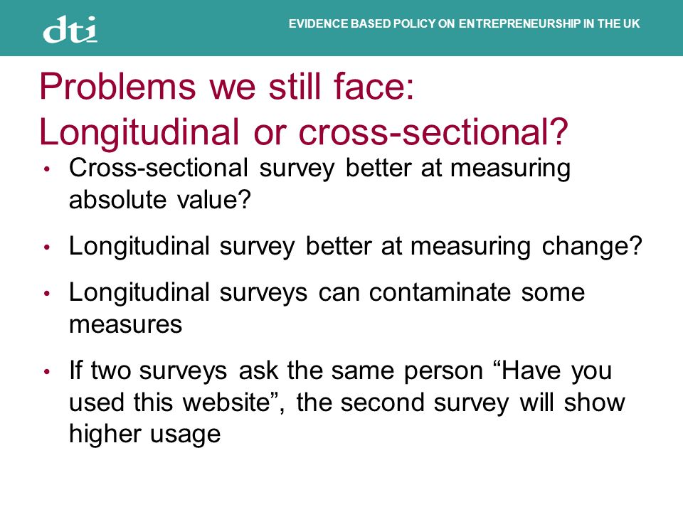 EVIDENCE BASED POLICY ON ENTREPRENEURSHIP IN THE UK Problems we still face: Longitudinal or cross-sectional? Cross-sectional survey better at measurin