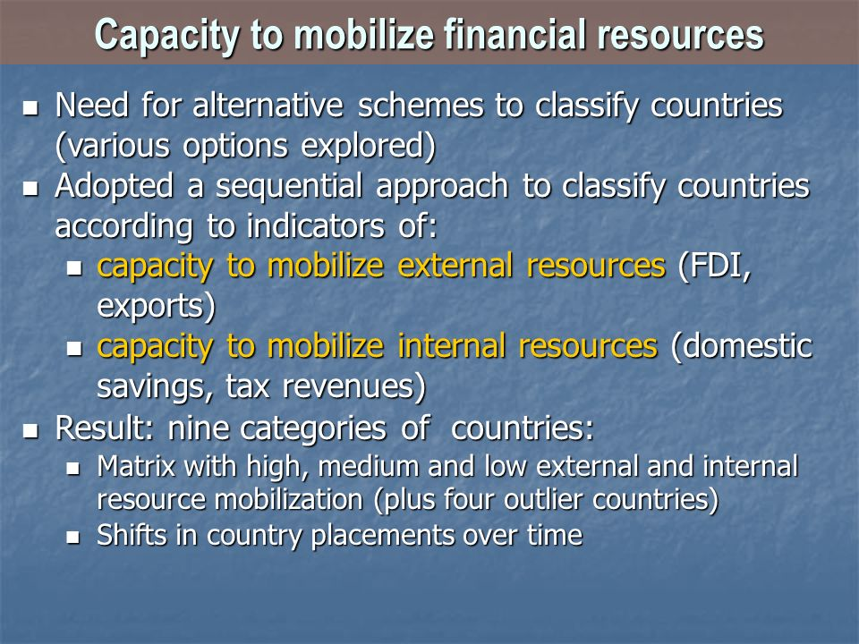 Capacity to mobilize financial resources Need for alternative schemes to classify countries (various options explored) Need for alternative schemes to