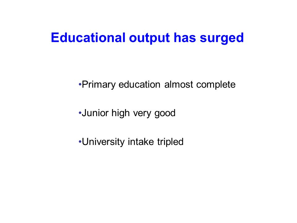 Educational output has surged Primary education almost complete Junior high very good University intake tripled