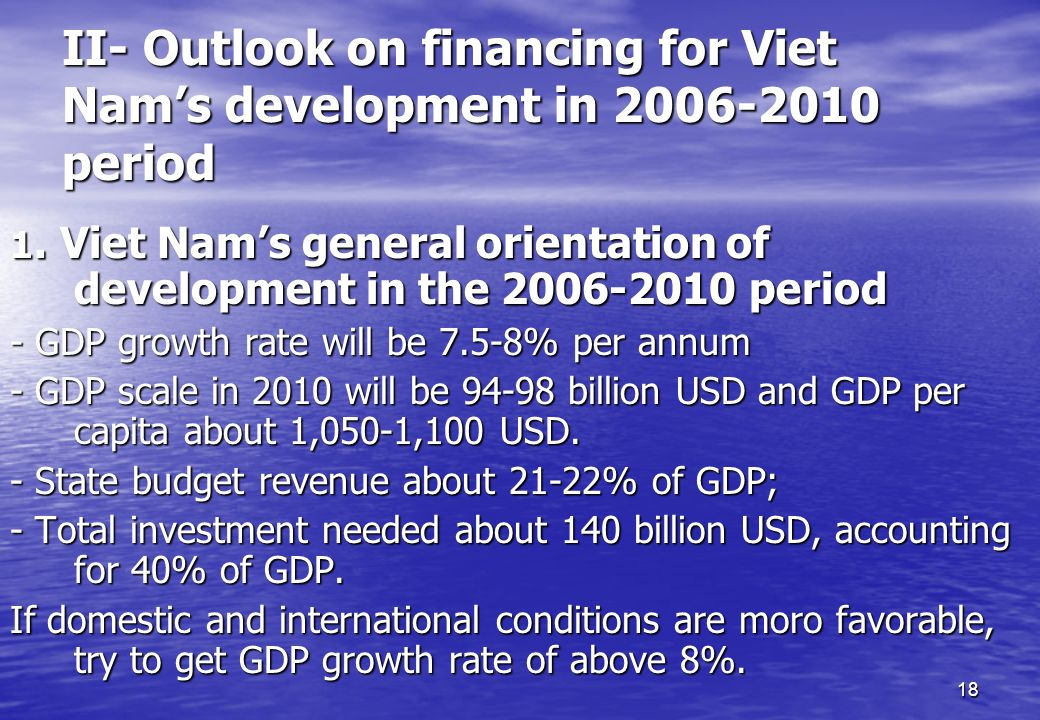 18 II- Outlook on financing for Viet Nams development in 2006-2010 period 1. Viet Nams general orientation of development in the 2006-2010 period - GD