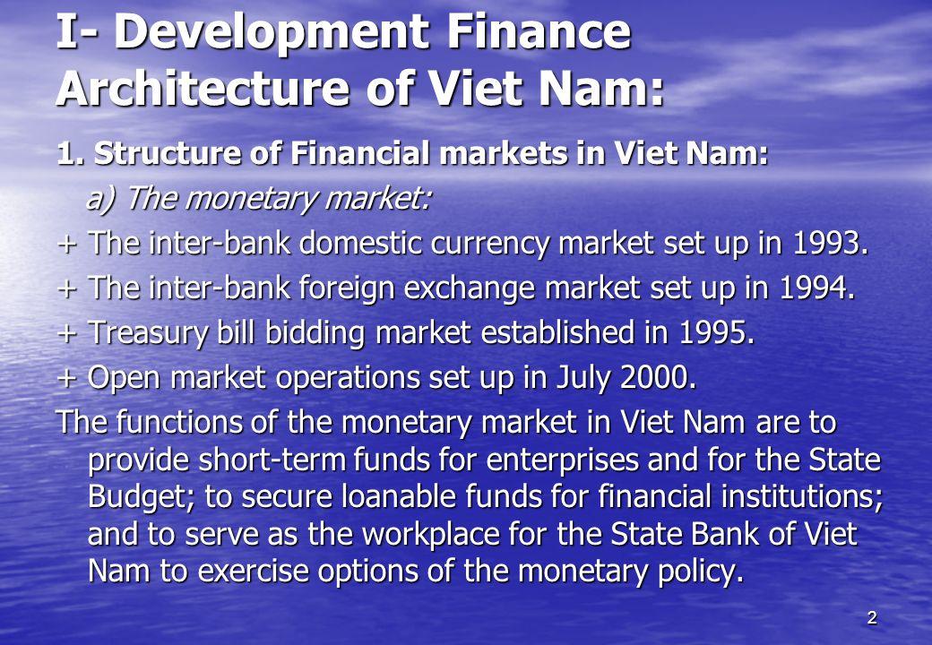 2 I- Development Finance Architecture of Viet Nam: 1. Structure of Financial markets in Viet Nam: a) The monetary market: a) The monetary market: + Th