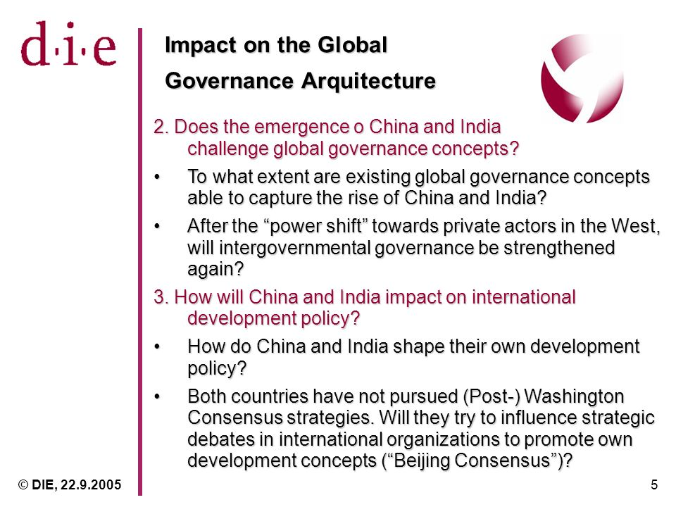 © DIE, 22.9.20055 Impact on the Global Governance Arquitecture 2.