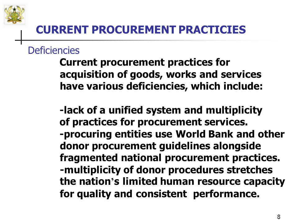 7 -Public procurement accounts for up to 50/70% of imports, representing between 18.2% to 25.48% of the country s Gross Domestic Product (GDP).