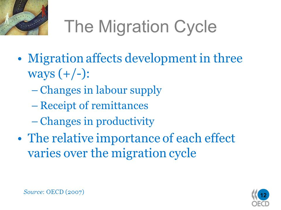 12 The Migration Cycle Source: OECD (2007) Migration affects development in three ways (+/-): –Changes in labour supply –Receipt of remittances –Chang