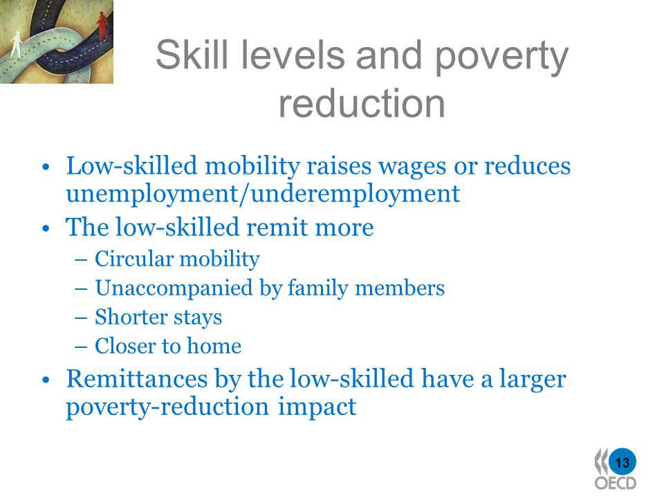 13 Skill levels and poverty reduction Low-skilled mobility raises wages or reduces unemployment/underemployment The low-skilled remit more –Circular mobility –Unaccompanied by family members –Shorter stays –Closer to home Remittances by the low-skilled have a larger poverty-reduction impact