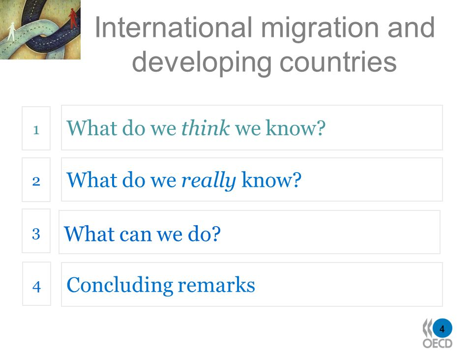 4 International migration and developing countries What do we think we know? 1 What do we really know? 2 What can we do? 3 4 Concluding remarks