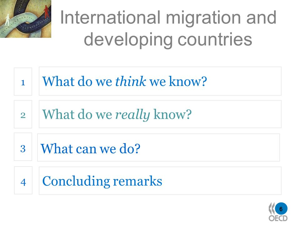 6 International migration and developing countries What do we think we know? 1 What do we really know? 2 What can we do? 3 4 Concluding remarks