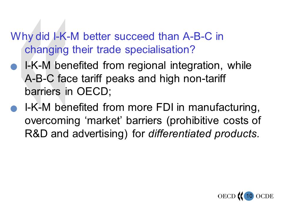 10 Why did I-K-M better succeed than A-B-C in changing their trade specialisation.