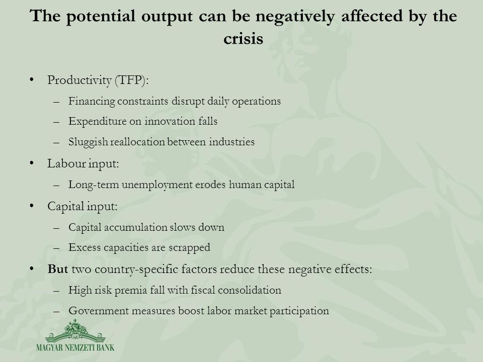 The potential output can be negatively affected by the crisis Productivity (TFP): –Financing constraints disrupt daily operations –Expenditure on innovation falls –Sluggish reallocation between industries Labour input: –Long-term unemployment erodes human capital Capital input: –Capital accumulation slows down –Excess capacities are scrapped But two country-specific factors reduce these negative effects: –High risk premia fall with fiscal consolidation –Government measures boost labor market participation