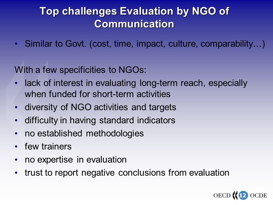 12 Top challenges Evaluation by NGO of Communication Similar to Govt.