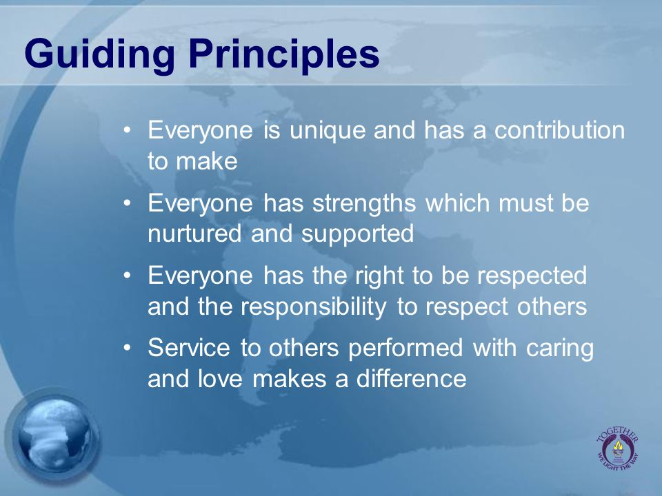 Guiding Principles Everyone is unique and has a contribution to make Everyone has strengths which must be nurtured and supported Everyone has the righ