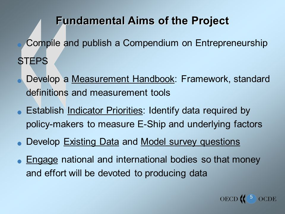 5 Fundamental Aims of the Project Compile and publish a Compendium on Entrepreneurship STEPS Develop a Measurement Handbook: Framework, standard defin