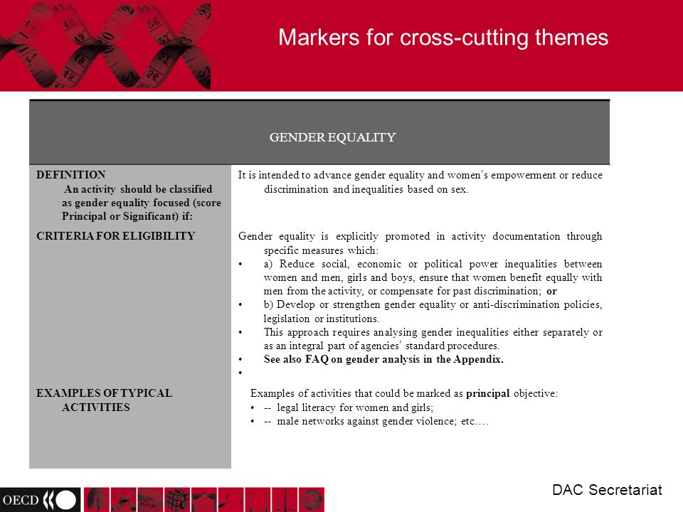 Markers for cross-cutting themes DAC Secretariat GENDER EQUALITY DEFINITION An activity should be classified as gender equality focused (score Principal or Significant) if: It is intended to advance gender equality and women s empowerment or reduce discrimination and inequalities based on sex.