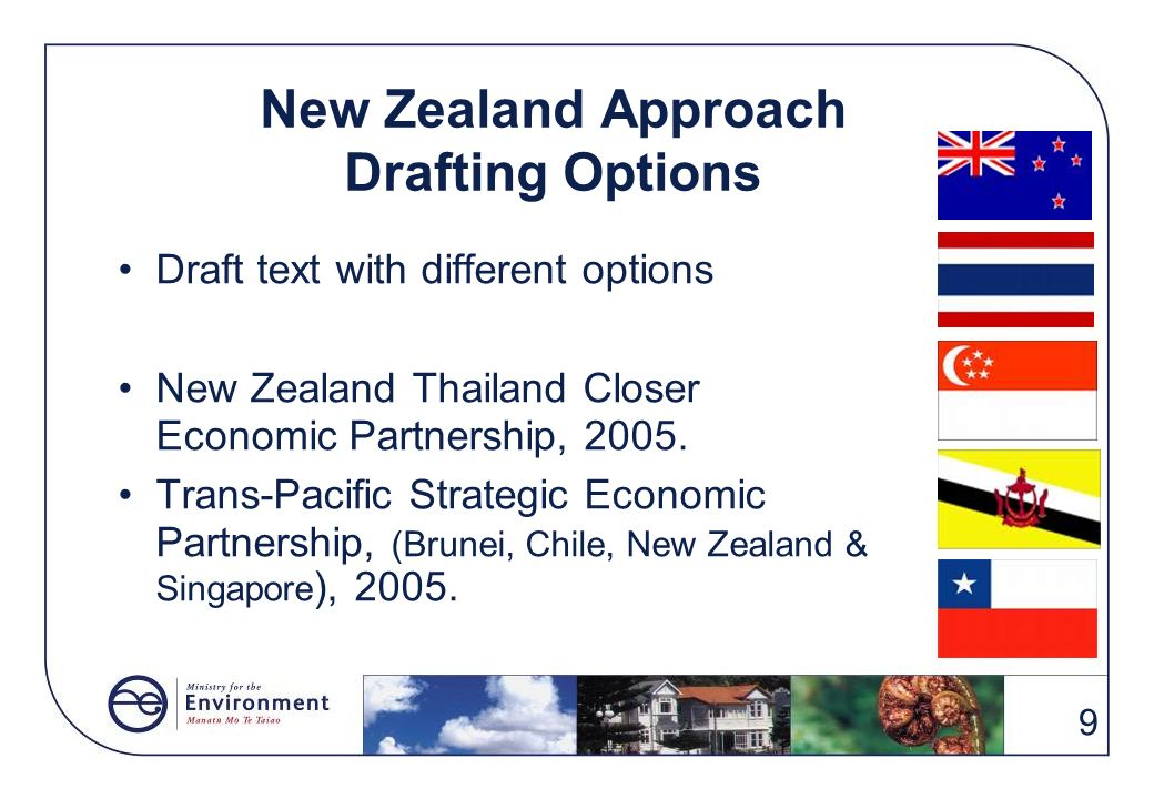 9 New Zealand Approach Drafting Options Draft text with different options New Zealand Thailand Closer Economic Partnership, 2005. Trans-Pacific Strate