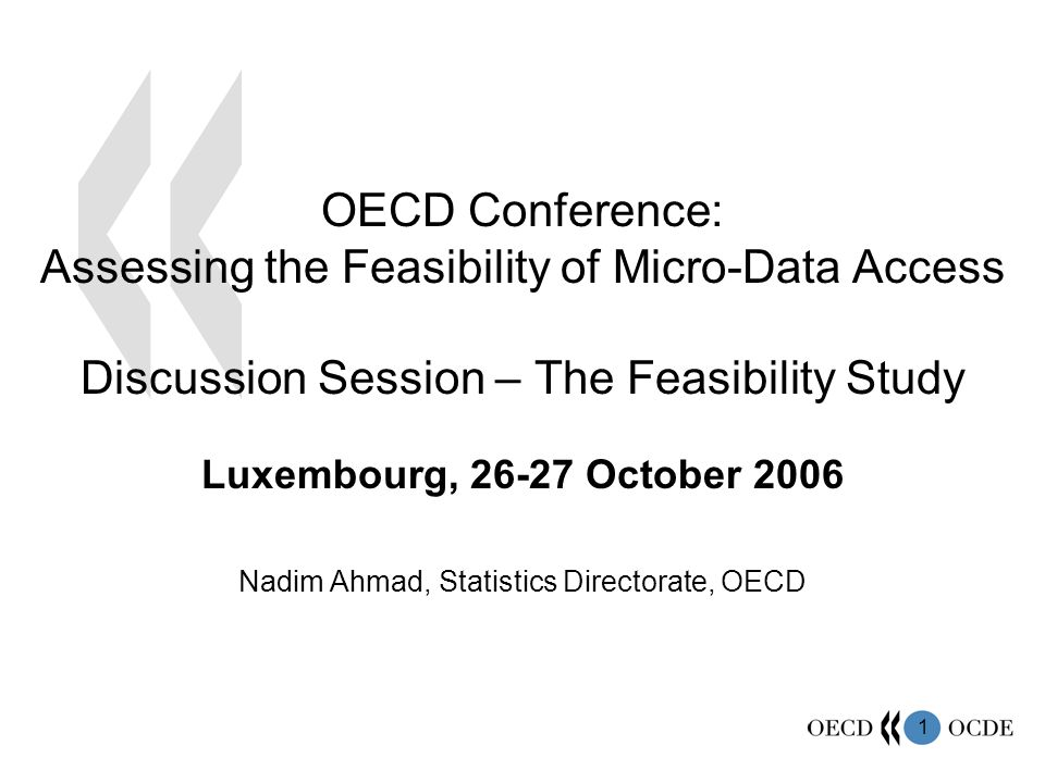 1 Luxembourg, October 2006 Nadim Ahmad, Statistics Directorate, OECD OECD Conference: Assessing the Feasibility of Micro-Data Access Discussion Session – The Feasibility Study