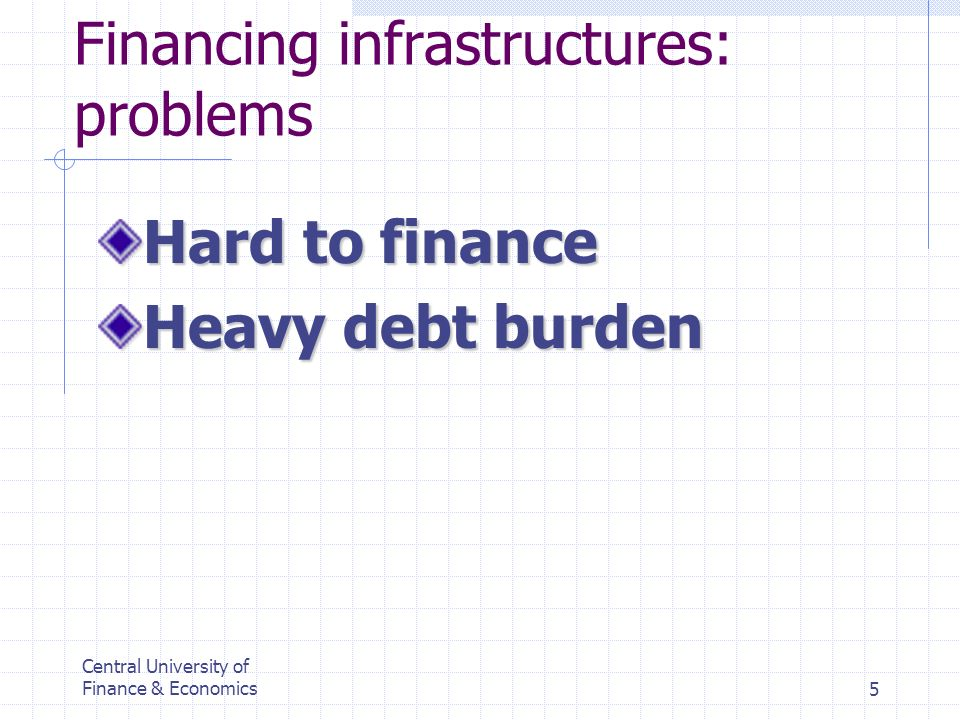 Central University of Finance & Economics5 Financing infrastructures: problems Hard to finance Heavy debt burden